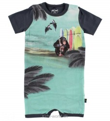 Me Too Sommerdragt - Koksgrå m. Abe/Surfboards