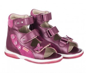 Memo Agnes, pigesandal, dark pink - sandaler med ekstra støtte