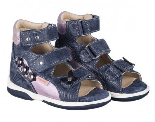 Memo Agnes, pigesandal, navy/lilla - sandaler med ekstra støtte