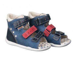 Memo Dino sandal, navy/rød - sandal med ekstra støtte