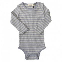 Mid Blue Melange/Grey Melange Body - Modal Stripes 181-101-23 fra MarMar