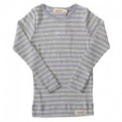 Mid Blue Melange/Grey Melange - Modal Stripes 181-101-16 fra MarMar