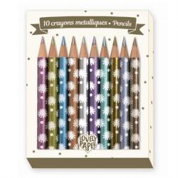 Mini farveblyanter Metallic 10 styk fra Djeco Lovely Paper