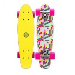 Mini Skateboard Black Dragon Pink Gul
