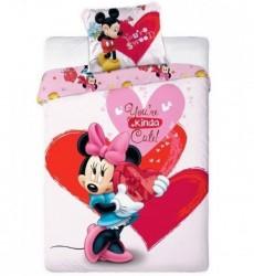 Minnie Mouse Hjerter Sengetøj 2i1 design - 100 Procent Bomuld