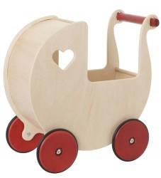 Moover Træ Dukkevogn - Natur m. Røde Hjul