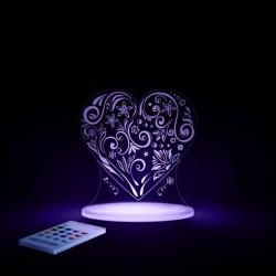 Natlampe med timer og fjernbetjening Hjerte fra Aloka SleepyLights