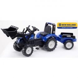 NEW HOLLAND T8 Pedal traktor til børn m/Frontskovl + Trailer