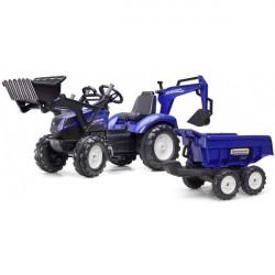 NEW HOLLAND T8 traktor til børn m/Frontskovl + Gravekran + Maxi Anhænger