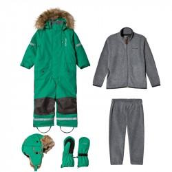 Pakke med Kuling Hue + Vanter + Sparkedragt + Vinterflyverdragt i Happy GreenBundle