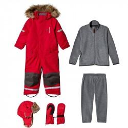 Pakke med Kuling Hue + Vanter + Sparkedragt + Vinterflyverdragt i Happy RedBundle