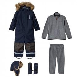 Pakke med Kuling Hue + Vanter + Sparkedragt + Vinterflyverdragt MarineblåBundle
