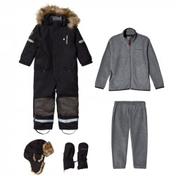 Pakke med Kuling Hue + Vanter + Sparkedragt + Vinterflyverdragt SortBundle