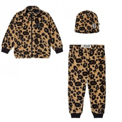Pakke med The BRAND Fleece Trøje + Fleece Bukser + Fleece Hue LeopardBundle