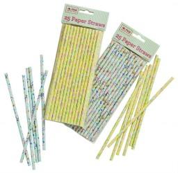 Papir sugerør fra Rice - Blomster - Blå m. lyserøde blomster (25 stk)