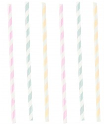 Papir sugerør - Happy Birthday Pastel (12 stk)