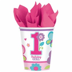 Papkrus - 1 års fødselsdag - 1st Birthday Girl (8 stk)