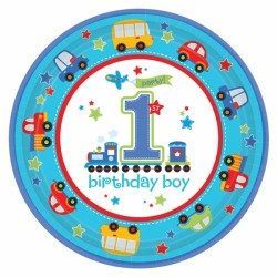 Paptallerken - Stor - 1 års fødselsdag - Dreng (8 stk)