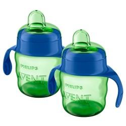 Philips Avent drikkekopper med hanke - 2 stk. á 200 ml - Blå/grøn