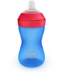 Philips Avent Grippy tud-kop, blød tud, 9m+, 300 ml.blå/rød