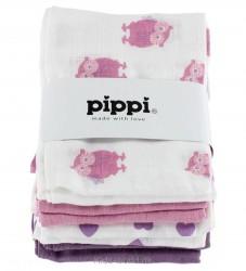 Pippi 8-pak Stofbleer - Hvid/Lilla/Rosa m. Print