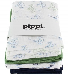 Pippi Stofbleer - 8-pak - 70x70 - Hvid/Navy/Grøn m. Print