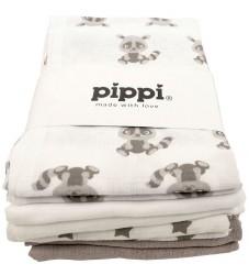 Pippi Stofbleer - 8-pak - 70x70 - Hvid/Sand m. Print