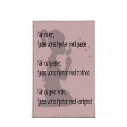 Plakat - Pige med tekst, 29,7 x 21 cm - A4