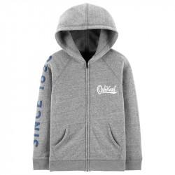 Raglan Full Zip Hoodie Grey Hoodie Htr8 år
