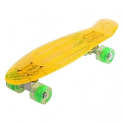 Retro Minicruiser Transparent Skateboard m/LED Lys og ABEC7, Orange