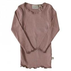 Rib T-Shirt Lace LS 2378 - Plum 0151-007 fra Wheat