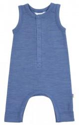 Romper i støvet blå uld med knapper