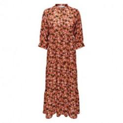 Rust W. NEON FLOWERS ONLISABELLA 3/4 LONG DRESS WVN 15214577 fra Only