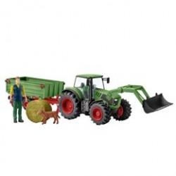 Schleich traktor med vogn og frontskovl