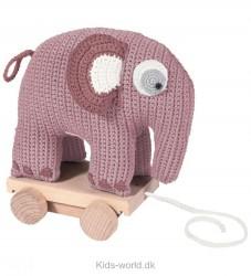 Sebra Hæklet Elefant på Hjul - Lyserød