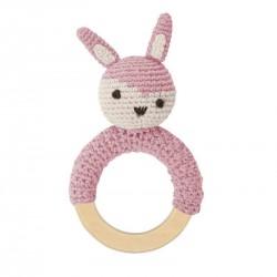 Sebra hæklet rangle, kanin på træring, rosa hos Babytoys.dk