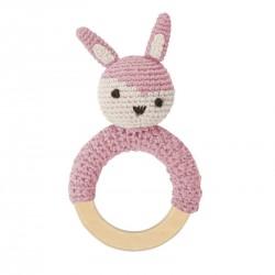 Sebra hæklet rangle, kanin på træring, rosa