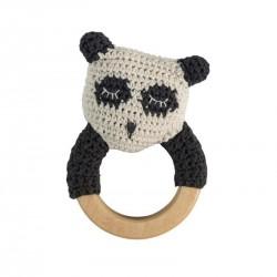 Sebra hæklet rangle, panda på træring hos Babytoys.dk