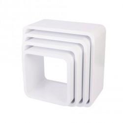 SEBRA kvadratiske bogkasser, 4 stk, mat hvid