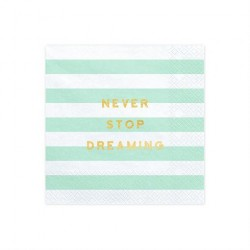 Servietter mint pastel Never Stop Dreaming