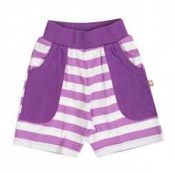 Shorts i lilla og hvidstribet økologisk bomuld