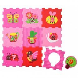Skumgulv fra Magni - Gulv puslespil - Pink Garden (9+9 brikker)