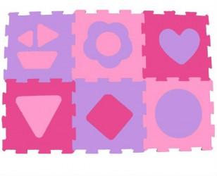 Skumgulv fra Magni - Gulv puslespil - Pink shapes (6 brikker)