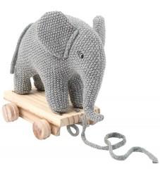 Smallstuff Trækdyr - Elefant - Strik - Grå/Glimmer