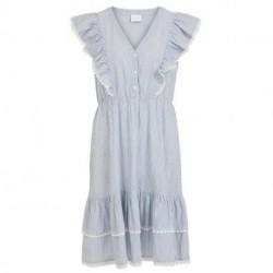 Snow White/NAVY VIMALIA V-NECK FLOUNCE DRESS 14066641 fra Vila