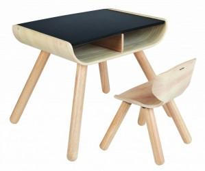 Sort børne bord og stol - Plantoys