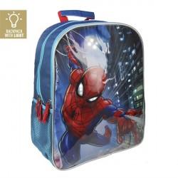 Spiderman Skoletaske med LED lys - Shooting web