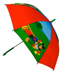 Stor DISNEY MICKEY MOUSE paraply, rød/grøn