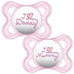 Sut fra MAM - Original I Love Mummy & Daddy - Rosa (0m+)