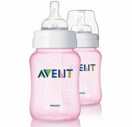 Sutteflaske fra Philips AVENT - PP - Classic+ - 1m+ - Pink (260ml) (2 stk)
